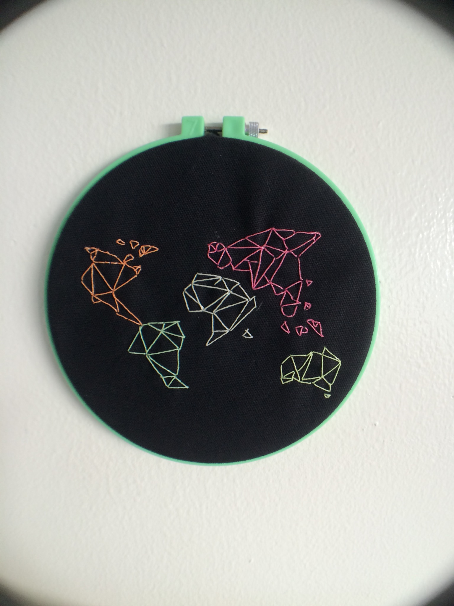 embroidery origami map dark